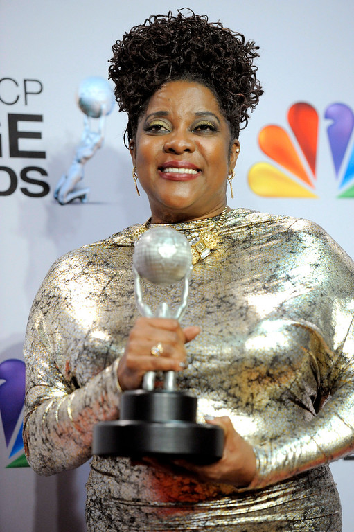 ". Loretta Devine poses backstage with the award for outstanding supporting actress in a drama series for ""Grey\'s Anatomy\"" at the 44th Annual NAACP Image Awards at the Shrine Auditorium in Los Angeles on Friday, Feb. 1, 2013. (Photo by Chris Pizzello/Invision/AP)"