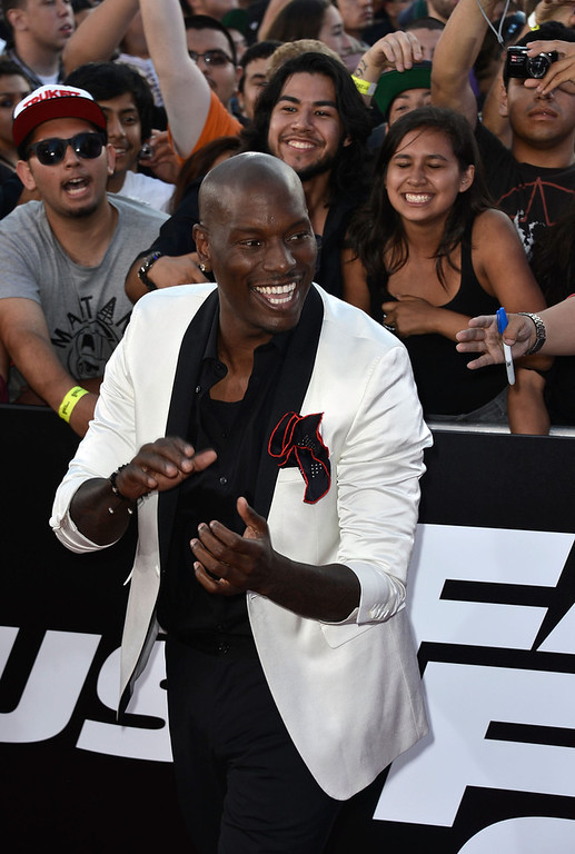 """. Actor Tyrese Gibson arrives at the Premiere Of Universal Pictures\' \""""Fast & Furious 6\"""" on May 21, 2013 in Universal City, California.  (Photo by Frazer Harrison/Getty Images)"""