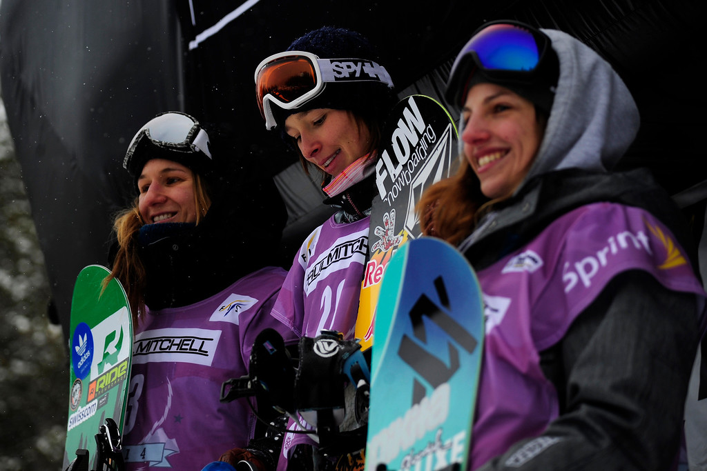 . The women\'s top three poses from left to right, Isabel Derungs (second), Sarka Pancochova (first) and Elena Koenz (third) following the slopestyle finals of the Copper Mountain Grand Prix.   (Photo by AAron Ontiveroz/The Denver Post)