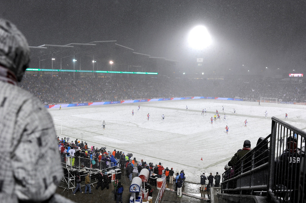 . COMMERCE CITY, CO. - MARCH 22: Snow accumulated on the field as the game started Friday night. The U.S. Men\'s National Soccer Team hosted Costa Rica Friday night, March 22, 2013 in a FIFA World Cup qualifier at Dick\'s Sporting Goods Park in Commerce City.  (Photo By Karl Gehring/The Denver Post)