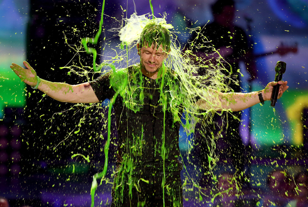 . Mark Wahlberg gets slimed at the 27th annual Kids\' Choice Awards at the Galen Center on Saturday, March 29, 2014, in Los Angeles. (Photo by Matt Sayles/Invision/AP)