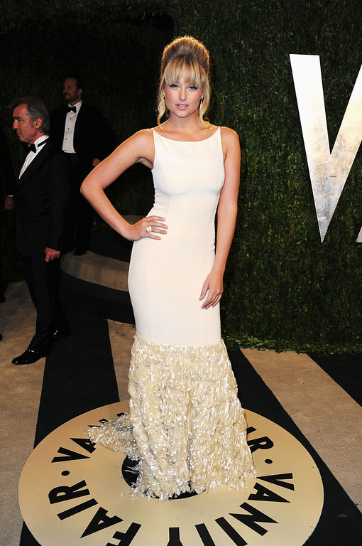. Model Genevieve Morton arrives at the 2013 Vanity Fair Oscar Party hosted by Graydon Carter at Sunset Tower on February 24, 2013 in West Hollywood, California.  (Photo by Pascal Le Segretain/Getty Images)