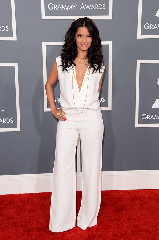 . TV host Rocsi Diaz arrives at the 55th Annual GRAMMY Awards at Staples Center on February 10, 2013 in Los Angeles, California.  (Photo by Jason Merritt/Getty Images)