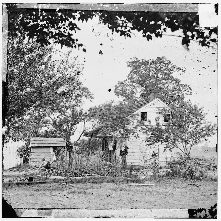 . Gettysburg, Pa. The Bryan house on 2d Corps line, near scene of Pickett\'s Charge.  - Library of Congress Prints and Photographs Division Washington, D.C.