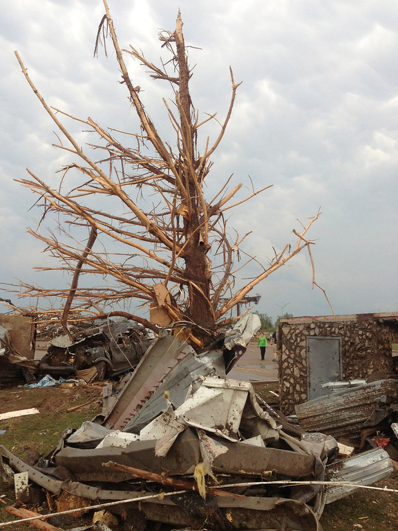 . A shredded tree stands amid debris after a massive tornado touched down in the town of Moore, near Oklahoma City, Oklahoma May 20, 2013.  A huge tornado with winds of up to 200 miles per hour (320 kph) tore through the Oklahoma City suburb of Moore on Monday, ripping up at least two schools and leaving a wake of tangled wreckage as a dangerous storm system threatened as many as 10 U.S. states.   REUTERS/Richard Rowe