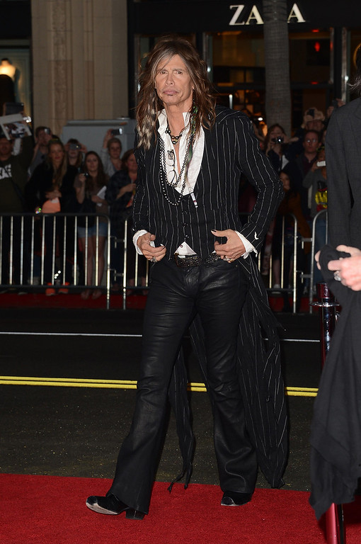 . Musician Steven Tyler attends the premiere of Warner Bros. Pictures\' \'The Incredible Burt Wonderstone\' at TCL Chinese Theatre on March 11, 2013 in Hollywood, California.  (Photo by Jason Merritt/Getty Images)