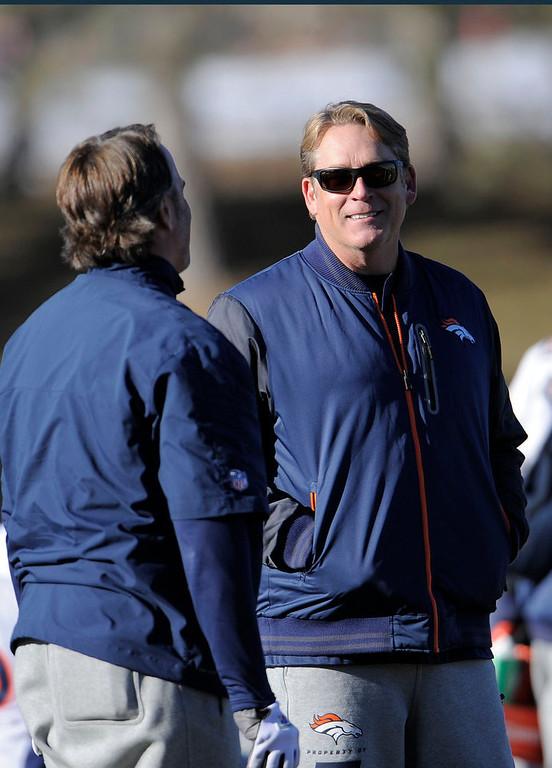 . Denver Broncos defensive coordinator Jack Del Rio during  practice Thursday, January 3, 2013 at Dove Valley.  John Leyba, The Denver Post