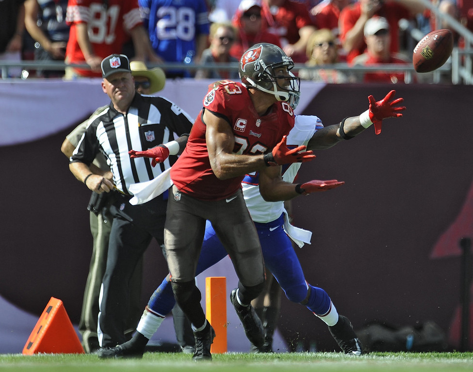. Tampa Bay Buccaneers wide receiver Vincent Jackson (83) pulls in a 38-yard touchdown pass against the Buffalo Bills during the first quarter of an NFL football game on Sunday, Dec. 8, 2013, in Tampa, Fla. (AP Photo/Brian Blanco)