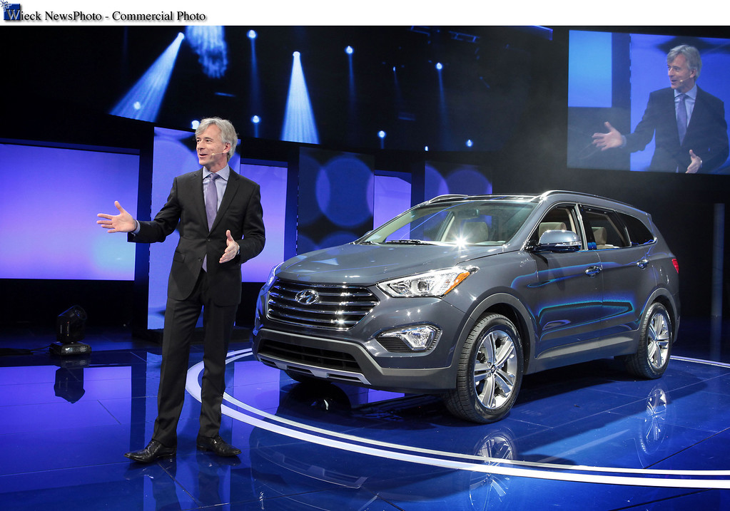 . Los Angeles - November 28, 2012 -Los Angeles - Nov. 28, 2012 - Hyundai Motor America President and CEO John Krafcik, today introduced the all-new third-row Santa Fe at the 2012 Los Angeles Auto Show. This marks the world debut of the latest version of the popular family crossover that includes the two-row, five-passenger Santa Fe Sport trim level, which has been on sale since August. The all-new Santa Fe family showcases Hyundai\'s cutting-edge capabilities through precise design, high-output powertrains with Gasoline Direct Injection (GDI) and a host of features to please drivers and passengers with high expectations for functionality, versatility and comfort. Pricing will be announced closer to the on-sale date in February. (Joe Wilssens photo)