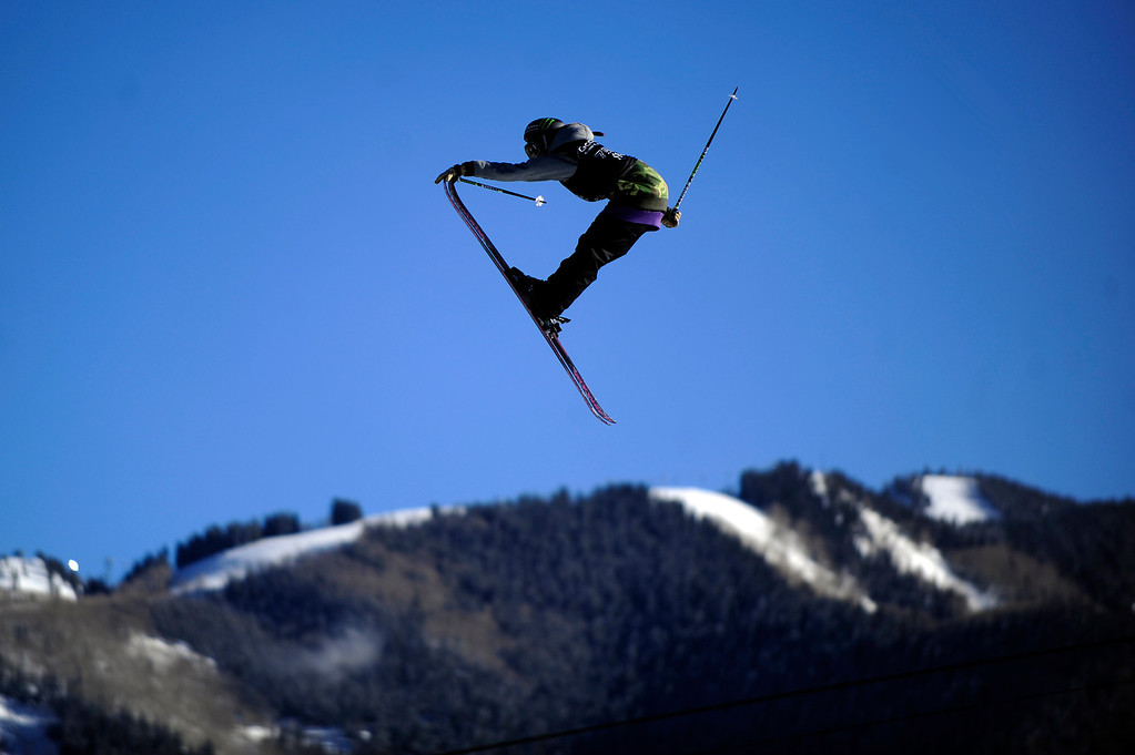 . ASPEN, CO - January 27: Keri Herman, of Breckenridge, Colorado, goes off a jump during the women\'s Ski Slopestyle event at Winter X Games Aspen 2013 at Buttermilk Mountain on Jan. 27, 2013, in Aspen, Colorado. Herman finished fifth overall. (Photo by Daniel Petty/The Denver Post)