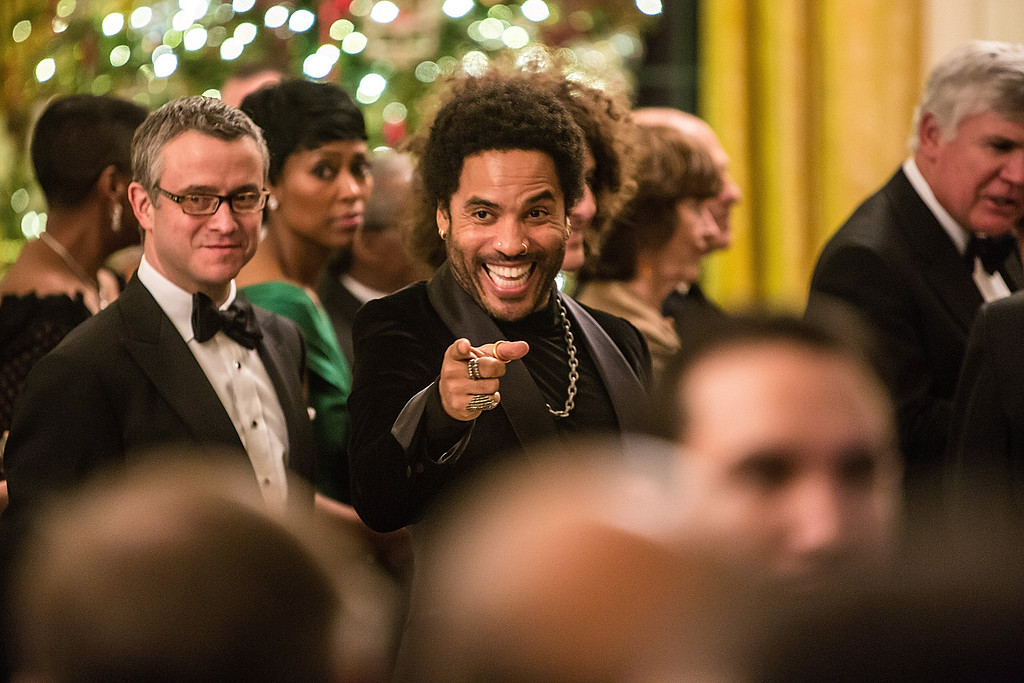 . WASHINGTON - DECEMBER 2: (AFP OUT) Musician Lenny Kravitz attends at the Kennedy Center Honors reception at the White House on December 2, 2012 in Washington, DC. The Kennedy Center Honors recognized seven individuals - Buddy Guy, Dustin Hoffman, David Letterman, Natalia Makarova, John Paul Jones, Jimmy Page, and Robert Plant - for their lifetime contributions to American culture through the performing arts. (Photo by Brendan Hoffman/Getty Images)