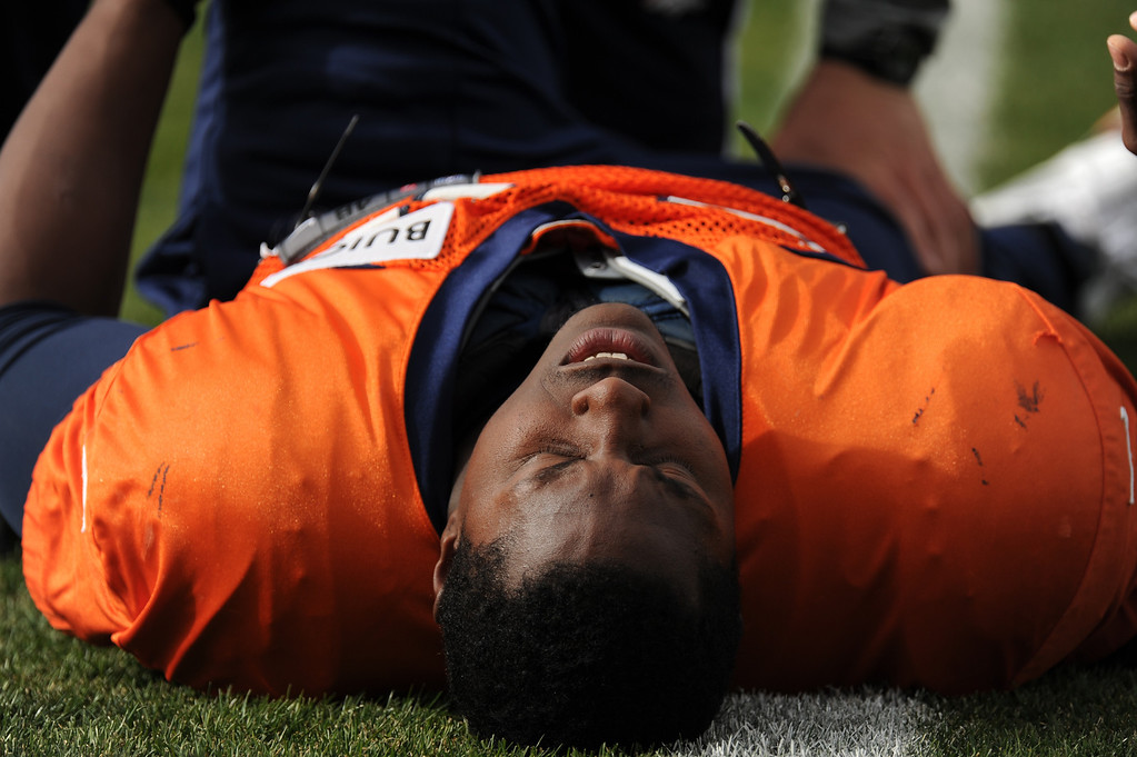 . Denver Broncos running back Knowshon Moreno #27 stretching during Broncos practice for their coming game against the Tampa Bay Buccaneers at Dove Valley in Denver Colorado Wednesday, November 28,  2012.    Joe Amon, The Denver Post