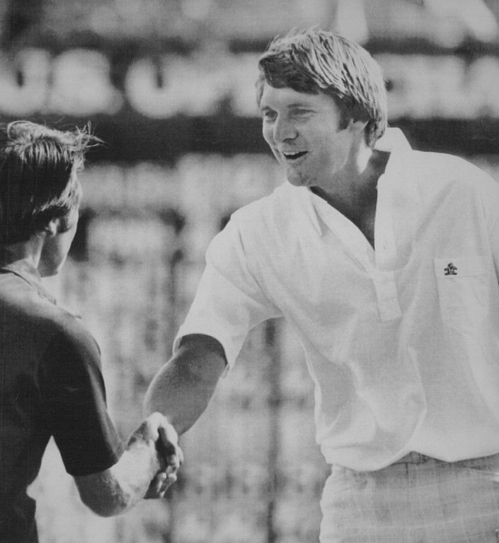 . Gary Player congratulates Andy North as winner of the 1978 U.S. Open golf championship at Cherry Hills Country Club Sunday. North had a final round 74, three over par, a 285 total for the four days..and the championship. Denver Post Library photo archive