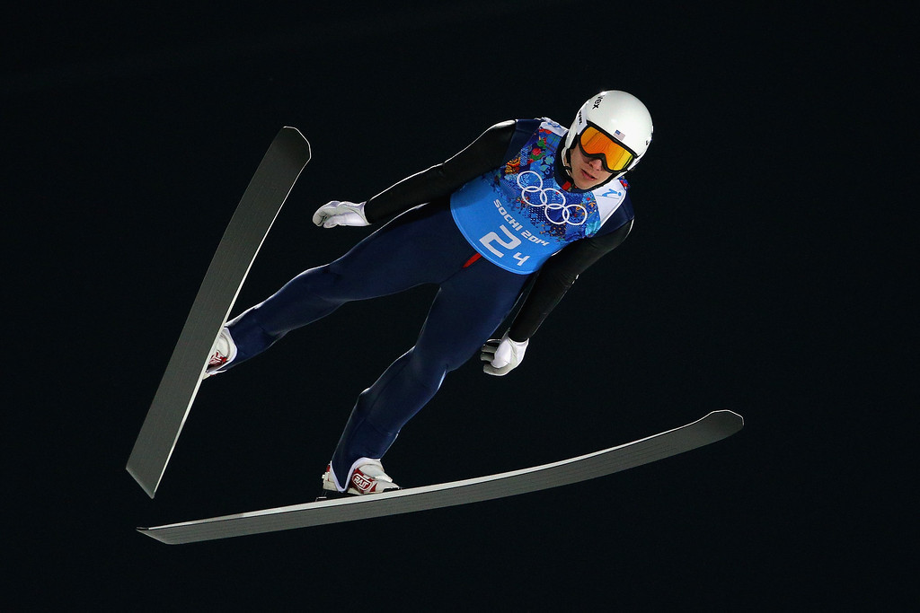 . Nicholas Alexander of the United States jumps during the Men\'s Team Ski Jumping trial on day 10 of the Sochi 2014 Winter Olympics at the RusSki Gorki Ski Jumping Center on February 17, 2014 in Sochi, Russia.  (Photo by Paul Gilham/Getty Images)