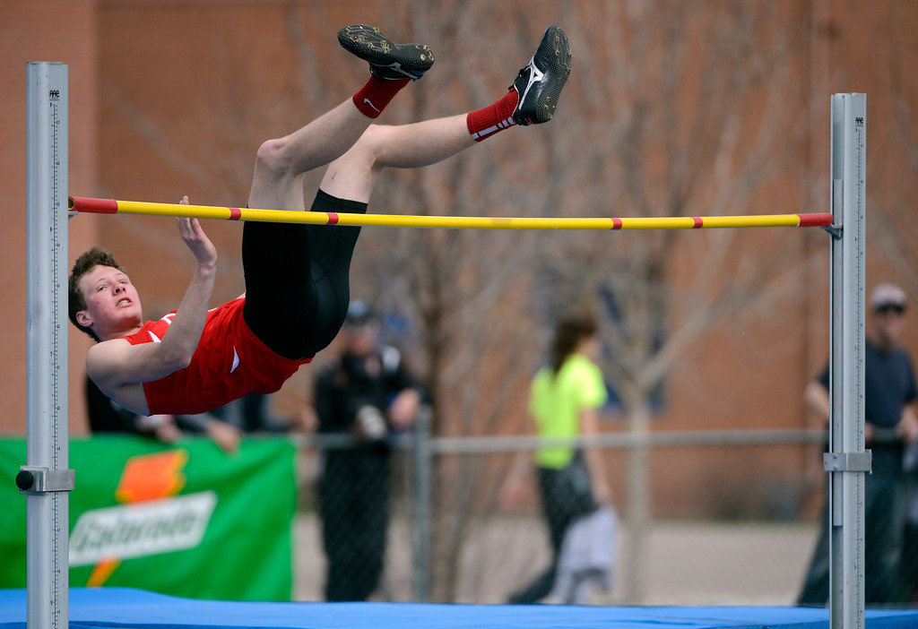 . DENVER, CO. - APRIL 13TH: Gabe Gililand, Durango High School, clears the bar during the boys high jump competition at the Mullen Runners Roost 2013 Track and Field Invitational at Mullen High School, Saturday April, 13th 2013. (Photo By Andy Cross/The Denver Post)