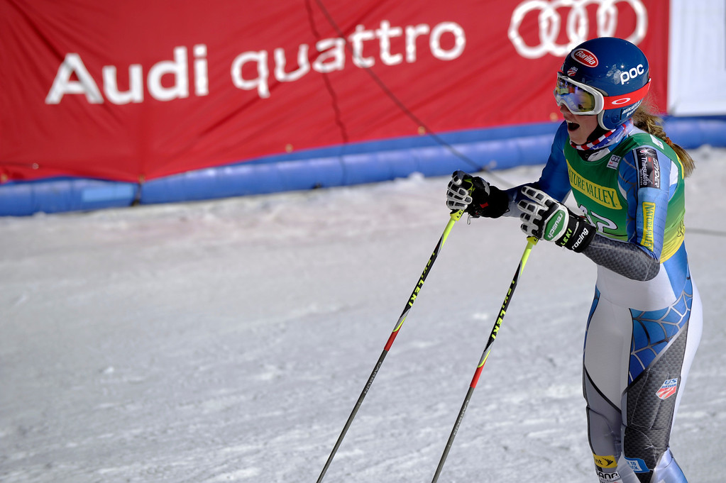 . Mikaela Shiffrin reacts after qualifying for the second run in giant slalom on Lower Ruthie\'s Run at the Nature Valley Aspen Winternational Audi FIS Ski World Cup at Aspen Mountain in Aspen on Saturday, Nov. 24, 2012. Shiffrin, 17, lives and trains in Vail. Daniel Petty, The Denver Post