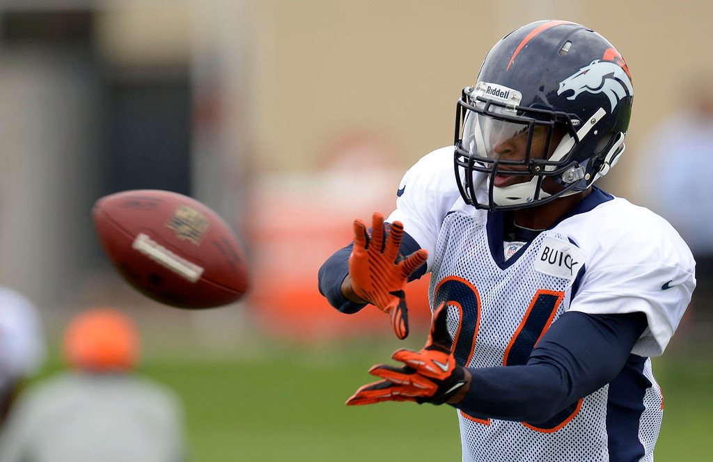 . Denver Broncos free safety Rahim Moore (26) catches a pass in drills during practice September 1, 2013 at Dove Valley. (Photo by John Leyba/The Denver Post)