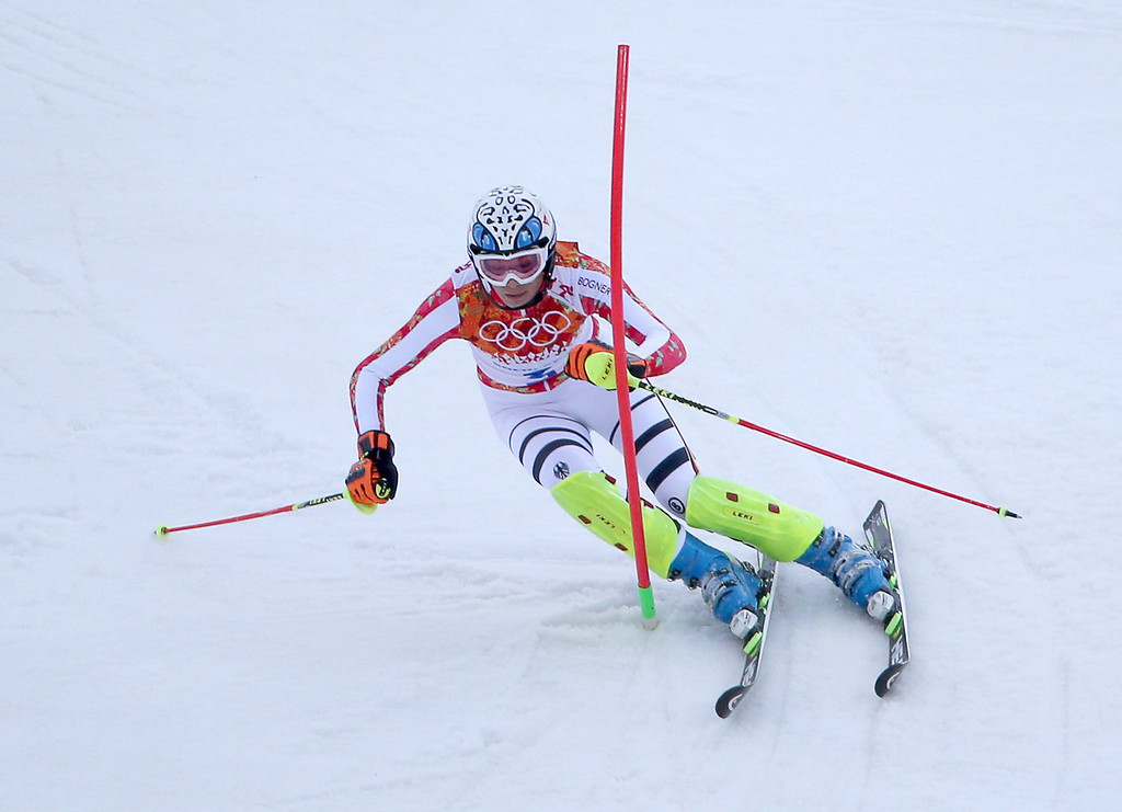. Maria Hoefl-Riesch of Germany in action during the first run of the Women\'s Slalom race at the Rosa Khutor Alpine Center during the Sochi 2014 Olympic Games, Krasnaya Polyana, Russia, 21 February 2014.  EPA/FREDRIK VON ERICHSEN