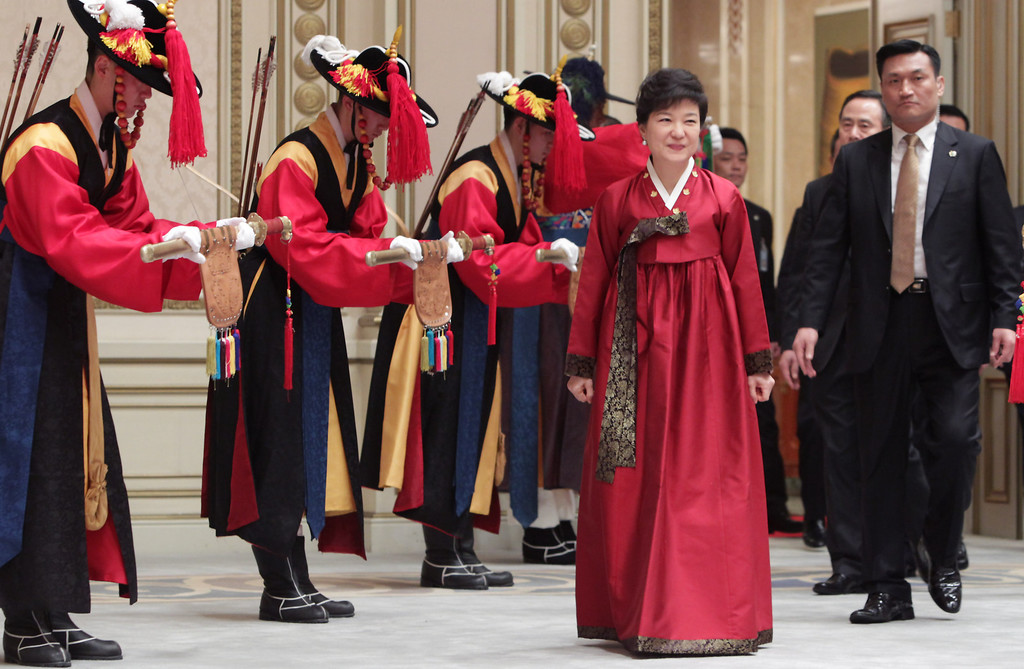 . South Korean President Park Geun-Hye arrives  during a dinner after inauguration ceremony at presidential house on February 25, 2013 in Seoul, South Korea.  (Photo by Chung Sung-Jun/Getty Images)