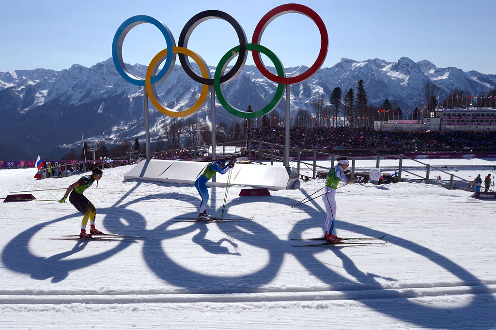 . Finland\'s Aino-Kaisa Saarinen (C), Germany\'s Stefanie Boehler and Sweden\'s Emma Wiken compete in the Women\'s Cross-Country Skiing 4x5km Relay at the Laura Cross-Country Ski and Biathlon Center during the Sochi Winter Olympics on February 15, 2014, in Rosa Khutor, near Sochi. Sweden won the gold Medal, Finland won Silver and Germany Bronze. KIRILL KUDRYAVTSEV/AFP/Getty Images