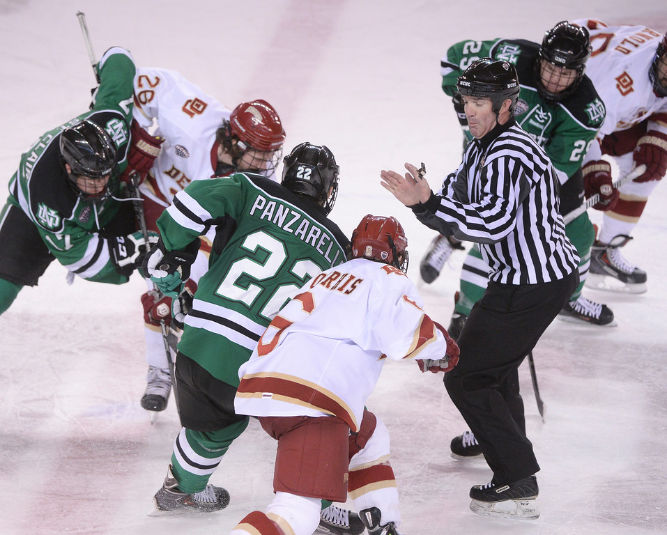 . DENVER, CO. - JANUARY 24:  The University of North Dakota out hustled the Pioneers to a 4-2 win Friday night, January 24, 2014. Photo By Karl Gehring/The Denver Post