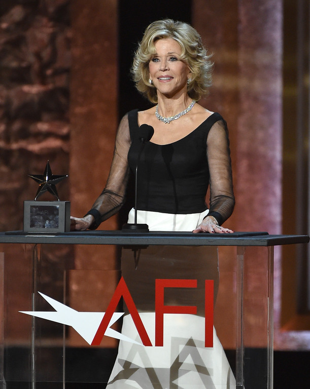 . Jane Fonda accepts the AFI Lifetime Achievement Award at the 42nd AFI Lifetime Achievement Award Tribute Gala at the Dolby Theatre on Thursday, June 5, 2014, in Los Angeles. (Photo by John ShearerInvision/AP)