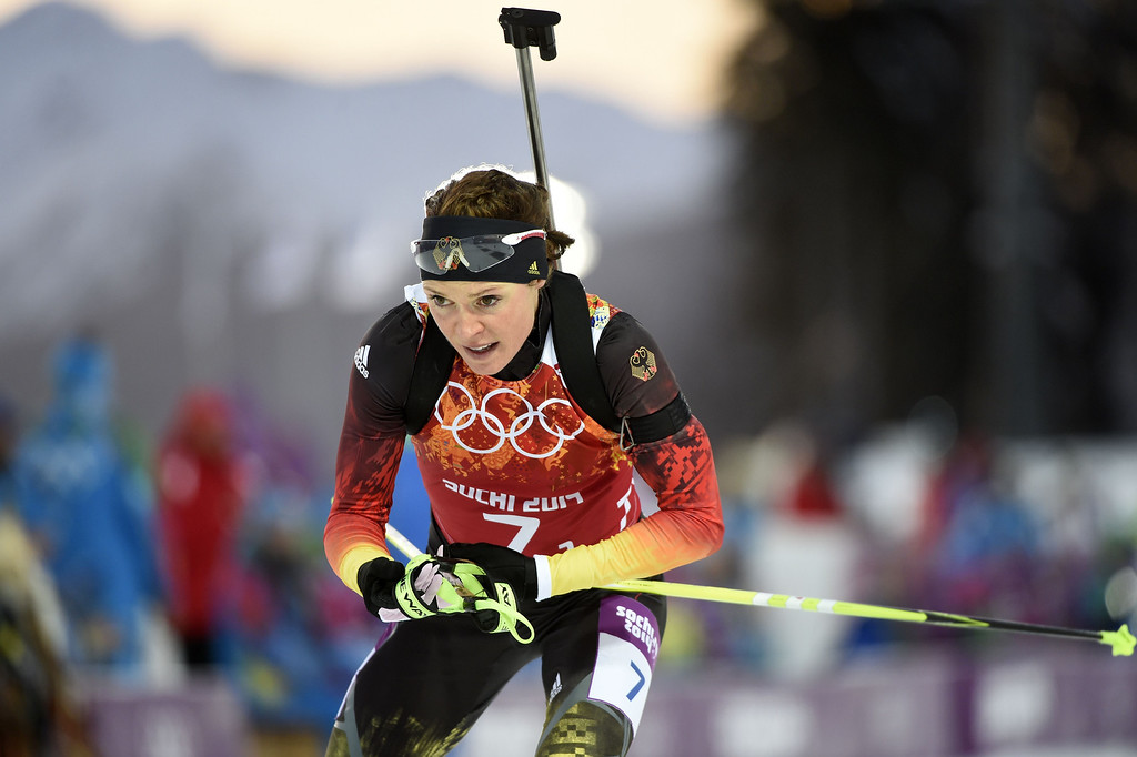 . Germany\'s Evi Sachenbacher-Stehle competes in the Biathlon mixed 2x6 km + 2x7,5 km Relay at the Laura Cross-Country Ski and Biathlon Center during the Sochi Winter Olympics on February 19, 2014 in Rosa Khutor near Sochi. AFP PHOTO / ODD ANDERSEN/AFP/Getty Images