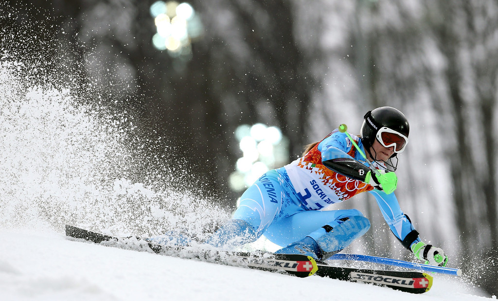 . Tina Maze of Slovenia in action during the Slalom portion of the Women\'s Super Combined race at the Rosa Khutor Alpine Center during the Sochi 2014 Olympic Games, Krasnaya Polyana, Russia, 10 February 2014.  EPA/KARL-JOSEF HILDENBRAND