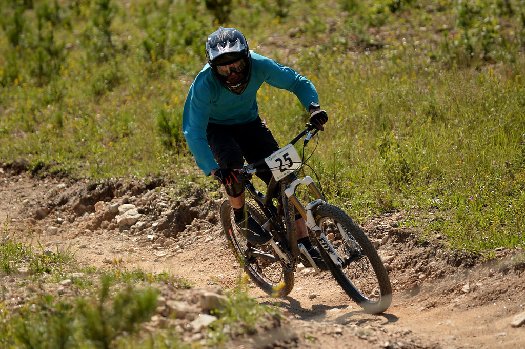 . WINTER PARK, CO. - July 26: Jamie Nicoll is in the first stage of First international Enduro World Cup Championship ever in U.S. at Winter Park, Colorado. July 26, 2013.  (Photo By Hyoung Chang/The Denver Post)