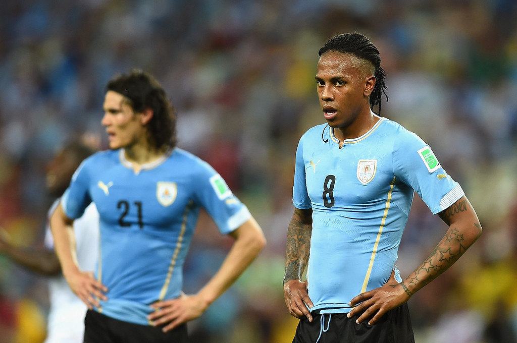 . A dejected Abel Hernandez of Uruguay looks on during the 2014 FIFA World Cup Brazil Group D match between Uruguay and Costa Rica at Castelao on June 14, 2014 in Fortaleza, Brazil.  (Photo by Laurence Griffiths/Getty Images)