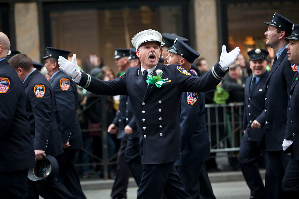. Members of the FDNY march on Fifth Avenue during the 252nd annual St. Patrick\'s Day Parade March 16, 2013 in New York City. The parade honors the patron saint of Ireland and was held for the first time in New York on March 17, 1762, 14 years before the signing of the Declaration of Independence. (Photo by Ramin Talaie/Getty Images)