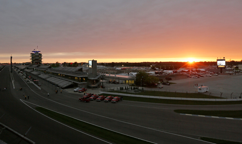 . The sun rises over the grounds of the Indianapolis Motor Speedway in Indianapolis, Sunday, May 26, 2013. The 97th Indianapolis 500 starts at noon. (AP Photo/AJ Mast)