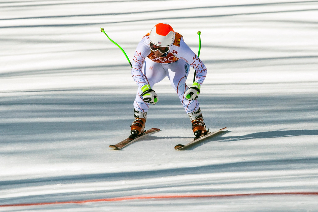 . Stacey Cook, of Mammoth Lakes, Calif., competes in the women\'s downhill race at Rosa Khutor Alpine Center Wednesday February 12, 2014. Cook finished in 17th place with a time of 1:43.05.  (Photo by Chris Detrick/The Salt Lake Tribune)