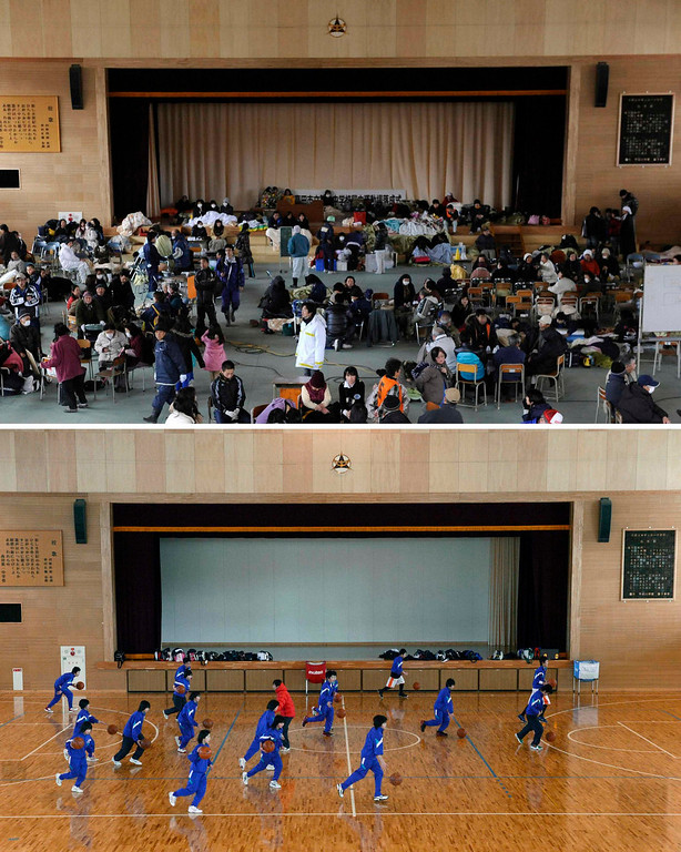 . The gymnastic hall of Daiichi junior high school in Rikuzentakata, Iwate prefecture, is pictured in this combination photo taken March 12, 2011 (top, acting as an evacuation centre) and March 3, 2013, released by Kyodo on March 7, 2013, ahead of the two-year anniversary of the March 11 earthquake and tsunami.      REUTERS/Kyodo