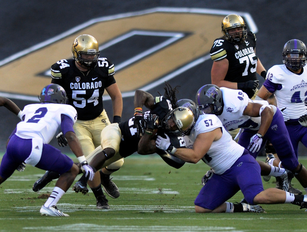. BOULDER, CO. - SEPTEMBER 76: Buffs running back D.D. Goodson struggled for yards in the first quarter. The University of Colorado football team hosted Central Arkansas at Folsom Field Saturday night, September 7, 2013. Photo By Karl Gehring/The Denver Post