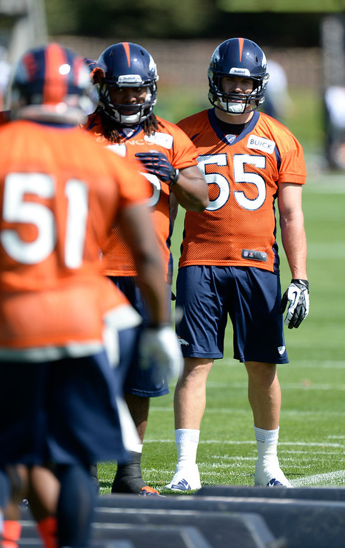 . Stewart Bradley (55) of the Denver Broncos looks on during the teams OTAs May 20, 2013 at Dove Valley. All offseason training activities (OTAs) are voluntary until the mandatory minicamp June 11-13. (Photo By John Leyba/The Denver Post)