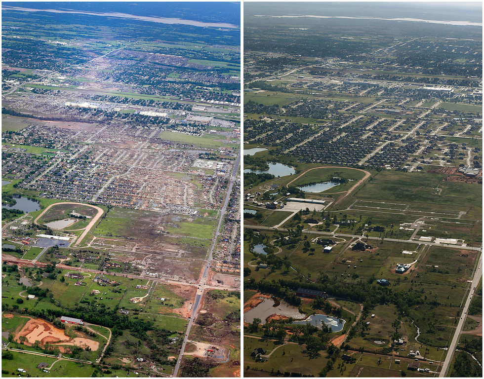 . This combination of aerial photos shows the path of destruction on May 21, 2013, the day after a massive tornado hit Moore, Okla., left, and the same view on May 15, 2014, right. (AP Photo)