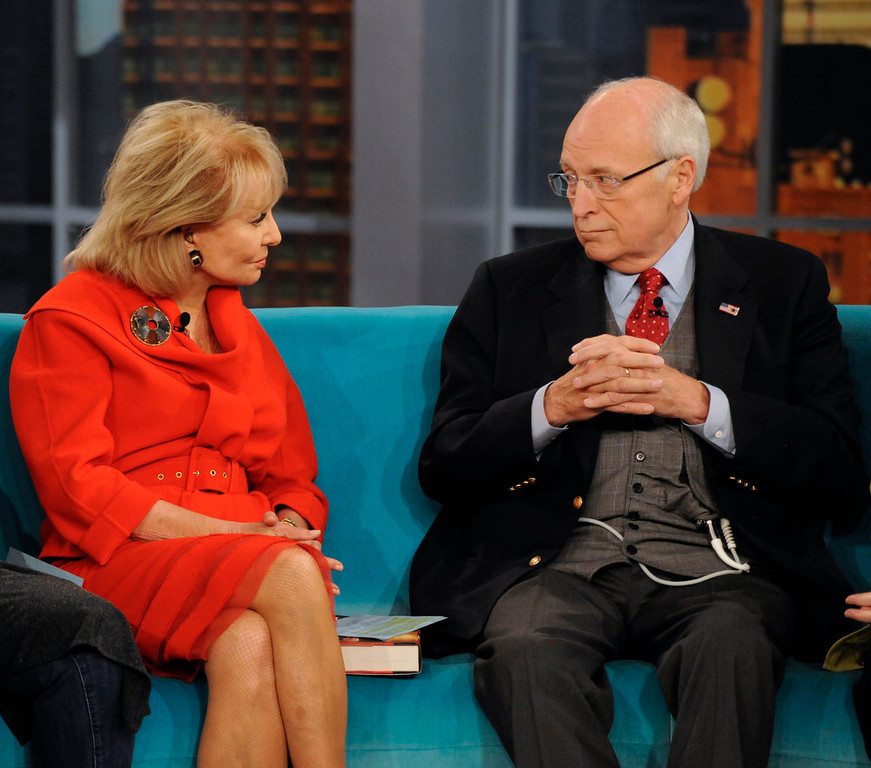 """. In this image released by ABC, former Vice President Dick Cheney, right, speaks with Barbara Walters on the daytime talk show \""""The View,\"""" Tuesday, Sept. 13, 2011, in New York. Cheney appeared to promote his book, \""""In My Time.\"""" (AP Photo/ABC, Donna Svennevik)"""
