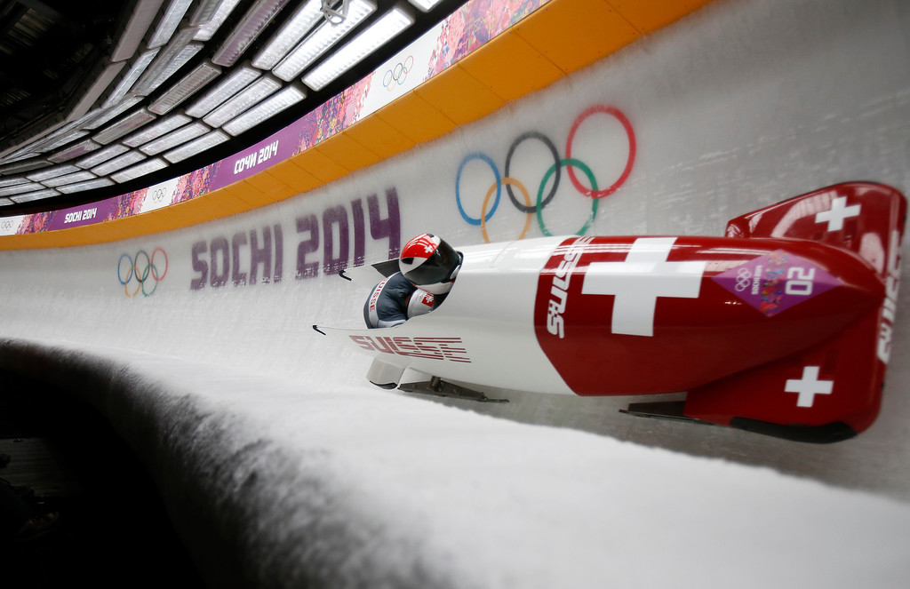 . Switzerland competes in the Two-man Bobsleigh at the Sanki Sliding Center for the 2014 Winter Olympics in Krasnaya Polyana, Russia, on Sunday, Feb. 16, 2014.  (Nhat V. Meyer/Bay Area News Group)
