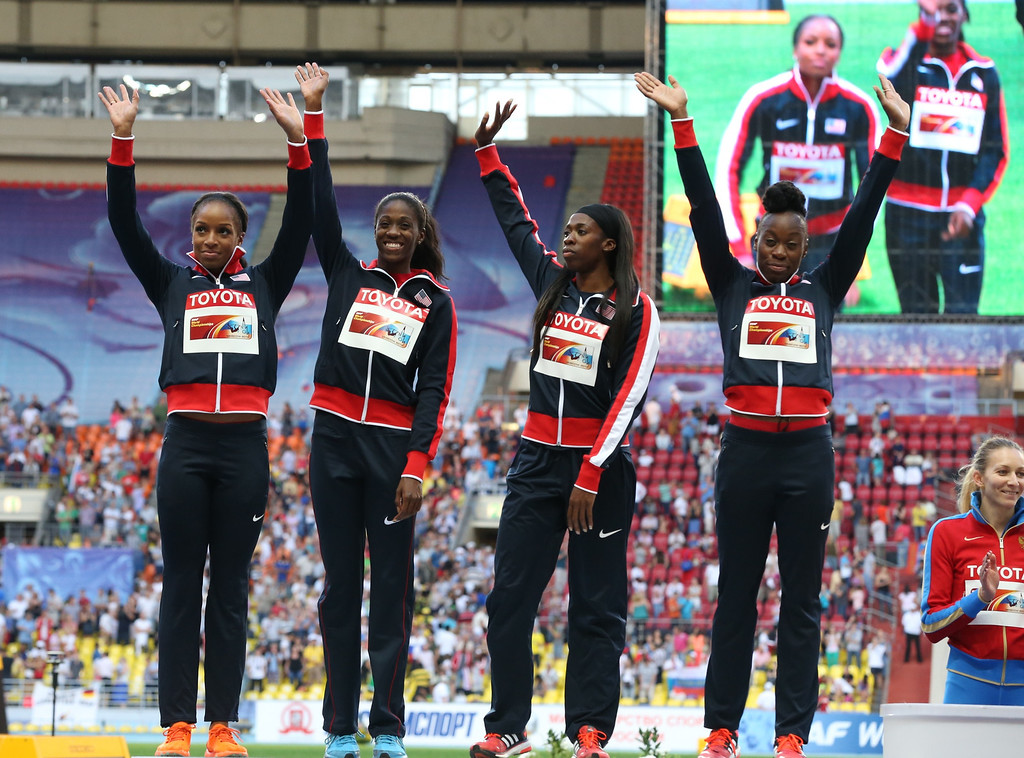 . Silver medalists Jessica Beard, Natasha Hastings, Ashley Spencer and Francena McCorory of the United States pose on the podium during the medal ceremony for the women\'s 4x400 metres relay at the 2013 IAAF World Championships at the Luzhniki stadium in Moscow on August 17, 2013.  ALEXANDER NEMENOV/AFP/Getty Images