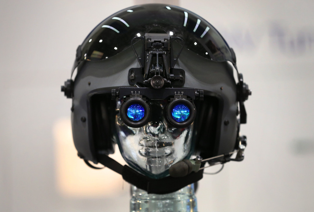 . Night vision goggles are displayed at the Defense and Security Exhibition on September 10, 2013 in London, England.  (Photo by Peter Macdiarmid/Getty Images)