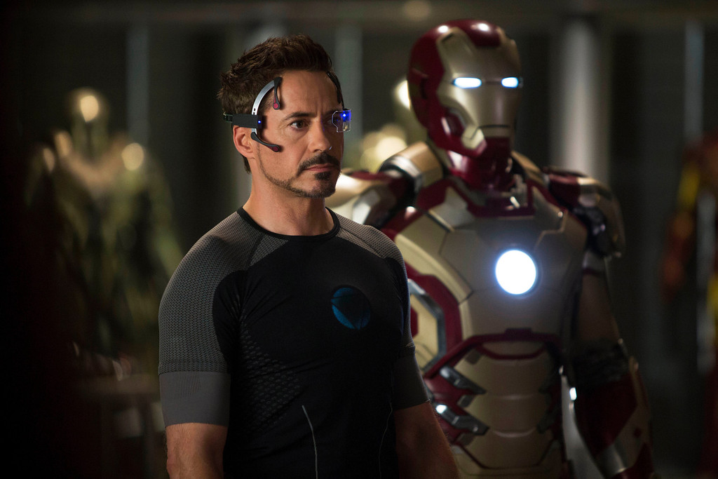 ". This  publicity image released by Marvel shows Robert Downey Jr., as Tony Stark/Iron Man, in a scene from ""Marvel\'s Iron Man 3.\""  \""Marvel\'s Iron Man 3\"" was one of several upcoming films to receive spotlight treatment with an ad that aired during Super Bowl XLVII on Sunday, Feb. 3, 2013. (AP Photo/Marvel, Zade Rosenthal)"