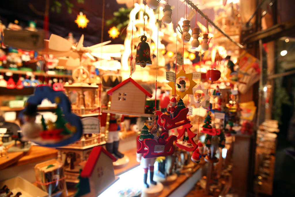 . Traditional Christmas ornaments seen at the annual Christmas market at Marienplatz and the Town Hall on its opening day on November 25, 0213 in Munich, Germany.   (Photo by Alexander Hassenstein/Getty Images)