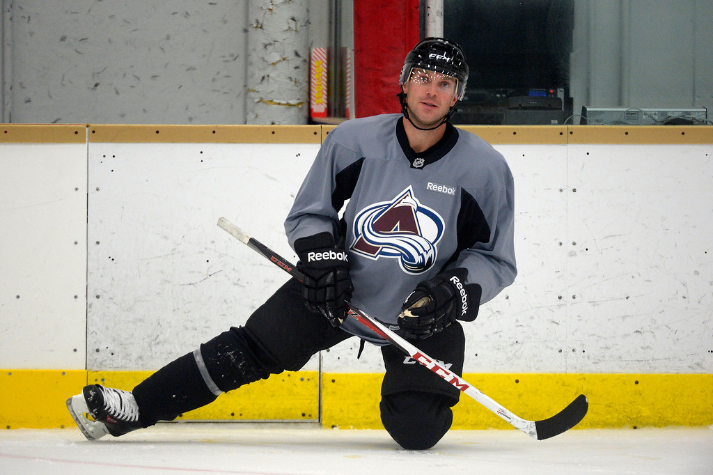 . Colorado Avalanche D Andre Benoit (61) stretches before practice September 10, 2013. (Photo By John Leyba/The Denver Post)