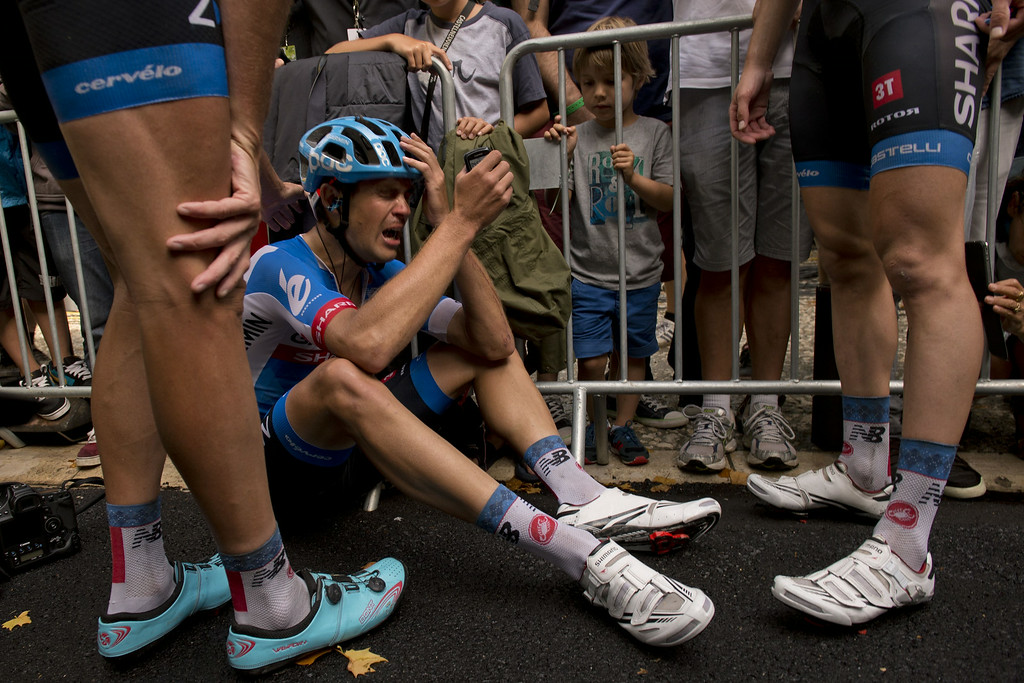. New Zealand\'s Jack Bauer cries after crossing the finish line at the end of the 222 km fifteenth stage of the 101st edition of the Tour de France cycling race on July 20, 2014 between Tallard and Nimes, southern France. Norway\'s Alexander Kristoff won the stage.  JEFF PACHOUD/AFP/Getty Images