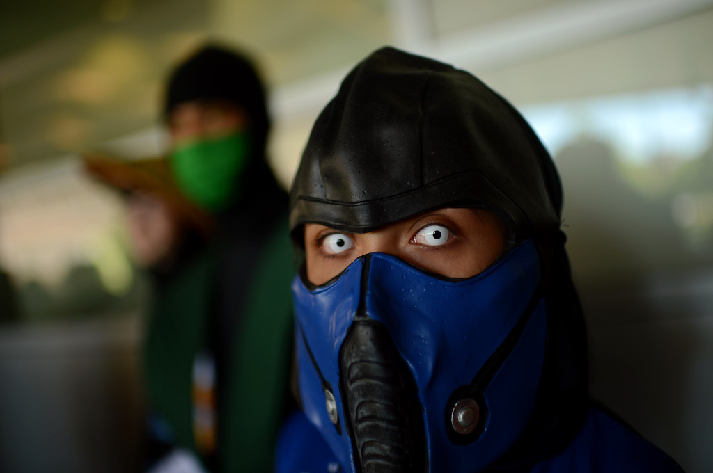 . DENVER, CO. - MAY 31: Ayla Aguilar, 12, with Sub- Zero costume is in the line of Opening day of Denver Comic Con at Colorado Convention Center. Denver, Colorado. May 31, 2013. (Photo By Hyoung Chang/The Denver Post)