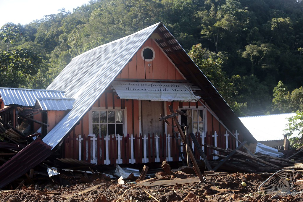 . A house damaged by a landslide at La Pintada, state of Guerrero, Mexico, on September 19, 2013 as heavy rains hit the country.  AFP PHOTO/Pedro PARDO/AFP/Getty Images