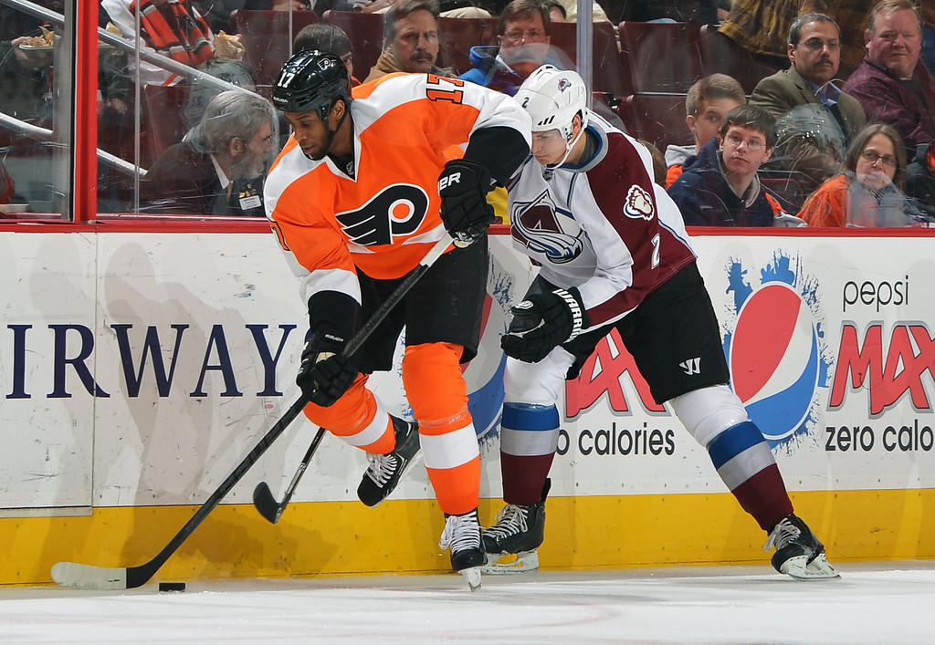 . PHILADELPHIA, PA - FEBRUARY 06: Wayne Simmonds #17 of the Philadelphia Flyers tries to skate away with the puck from Nick Holden #2 of the Colorado Avalanche at the Wells Fargo Center on February 6, 2014 in Philadelphia, Pennsylvania.  (Photo by Drew Hallowell/Getty Images)