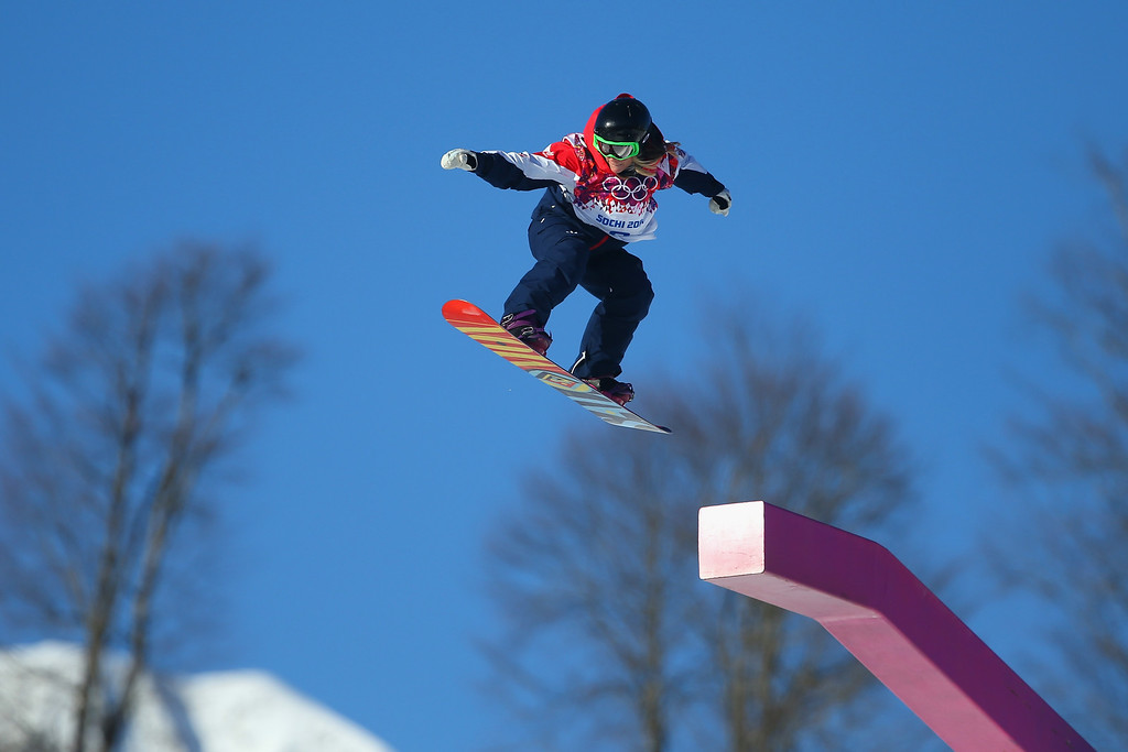 . Jenny Jones of Great Britain practices in the Women\'s Slopestyle during a training session at Rosa Khutor Extreme Park prior to the Sochi 2014 Winter Olympics at the Mountain Cluster on February 4, 2014 in Sochi, Russia.  (Photo by Julian Finney/Getty Images)