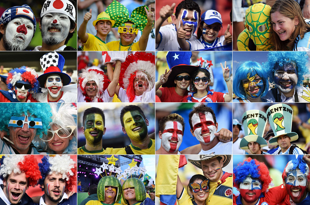 . A combination of pictures taken in June 2014 shows supporters from various countries during the 2014 FIFA World Cup in Brazil. AFP PHOTO--/AFP/Getty Images